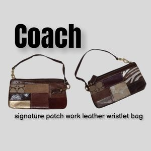 Coach signature patch work leather wristlet bag